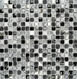 Mosaik Fliese Transluzent grau schwarz Glasmosaik Crystal Stein EP grau schwarz silber MOS92-HQ14
