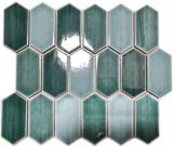 Mosaikfliese Keramik Mosaik Hexagonal grün glänzend Küche Wand Bad MOS11J-475