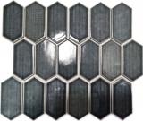 Mosaikfliese Keramik Mosaik Hexagonal schwarz glänzend Küchenrückwand Bad MOS11J-479