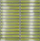 Mosaikfliese Keramik Mosaik Stäbchen hellgrün gesprenkelt glänzend Wand Küche Bad MOS24-CS16