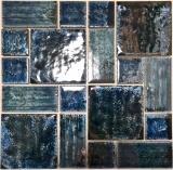 Mosaikfliese Keramik Mosaik Kombi grün glänzend Bad Kücehnrückwand MOS13-KAS4_f
