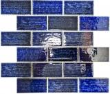 Mosaikfliese Keramik Mosaik Verbund blau glänzend Badezimmer Küche Wand MOS26-KAS6