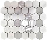 Mosaikfliese Keramik Mosaik Hexagonal weiß glänzend Küche Badezimmer MOS11K-SAN1