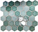 Mosaikfliese Keramik Mosaik Hexagonal grün glänzend Fliesenspiegel Dusche MOS11K-SAN5