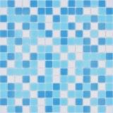 Mosaikfliese Glasmosaik Classic Mix Glas mix weiß blau papierverklebt Poolmosaik Schwimmbadmosaik MOS210-323P