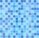 Mosaikfliese Glasmosaik Classic Mix Glas mix türkis blau papierverklebt Poolmosaik Schwimmbadmosaik MOS210-PA327