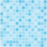 Mosaikfliese Glasmosaik Classic Mix Glas mix hellblau 4F papierverklebt Poolmosaik Schwimmbadmosaik MOS210-PA331