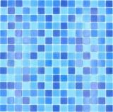 Mosaikfliese Glasmosaik Classic Mix Glas mix blau 4F papierverklebt Poolmosaik Schwimmbadmosaik MOS210-PA335