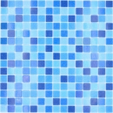Mosaikfliese Glasmosaik Classic Mix Glas blau 5F papierverklebt Poolmosaik Schwimmbadmosaik MOS210-PA339