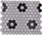 Mosaikfliese Keramik Mosaik Hexagonal mix weiß schwarz glänzend Fliesenspiegel Bad Küche MOS11A-0113G
