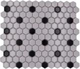 Mosaikfliese Keramik Mosaik Hexagonal mix weiß schwarz glänzend Küchenrückwand Bad MOS11A-03G01