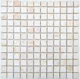 Mosaikfliese Marmor Mosaik weiß creme Fliesenspiegel Bad WC Duschboden Wandverblender Küchenfliese - MOS40-T23W
