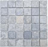 Mosaikfliese Marmor Mosaik hellgrau anthrazit Küche Wand Badezimmer Duschtasse Wandfliese Badfliese - MOS40-T48LG