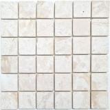 Mosaikfliese Marmor Mosaik weiß creme Küche Badezimmer Duschboden Spritzschutz Wandverblender - MOS40-T48W