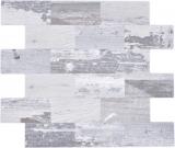 Mosaikfliese Selbstklebende Mosaike Alu Holzoptik shabby chic grau Subway MOS200-4S49