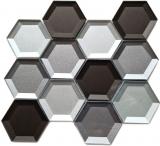 Mosaikfliese Glasmosaik Kombihexagonal 3D-Optik mix Wand Küche Badezimmer MOS88-XB159