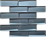 Mosaikfliese Glasmosaik Kombi 3D-Optik graublau Küchenrückwand Badezimmer MOS88-XB05