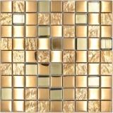 Mosaikfliese Glasmosaik Kombi EP gold Küchenrückwand Badezimmer MOS88-XCG03