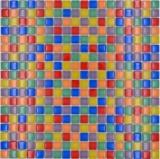 Mosaikfliese Glasmosaik Mix bunt rot blau gelb grün Fliesenspiegel Badezimmer MOS88-XC123