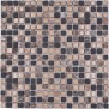 Mosaikfliese Glas Naturstein Mosaik Stein mix braun matt Küchenrückwand MOS92-580