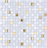 Mosaikfliese Glas Naturstein Mosaik Stein EP mix weiß gold Fliesenspiegel MOS92-640