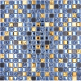 Mosaikfliese Glas Naturstein Mosaik Stein EP mix schwarz gold Badezimmer Küche MOS92-650