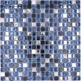 Mosaikfliese Glas Naturstein Mosaik Stein EP mix schwarz silber Küchenrückwand MOS92-660