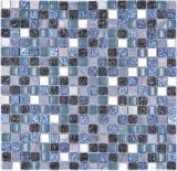Mosaikfliese Glas Naturstein Mosaik Stein Stahl mix blau grau Küche Wand Bad MOS92-670