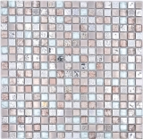 Mosaikfliese Glas Naturstein Mosaik Resin Stahl mix EP grau Küche Badezimmer Wand MOS92-680