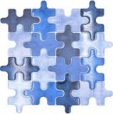 Mosaikfliese Glasmosaik Kombi Puzzle mix blau Küchenrückwand Fliesenspiegel MOS88-PT01