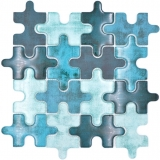 Mosaikfliese Glasmosaik Kombi Puzzle mix türkis blau Küchenrückwand Badezimmer MOS88-PT03