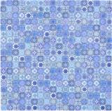 Mosaikfliese Glasmosaik Kombi Retro Biscuit blau Fliesenspiegel Bad MOS78-RB33