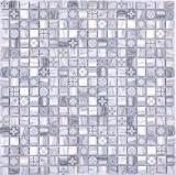 Mosaikfliese Glasmosaik Kombi Retro wood grau Küchenrückwand Badezimmer MOS78-W09