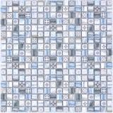 Mosaikfliese Glasmosaik Kombi Retro wood graublau hell Fliesenspiegel Bad MOS78-W39