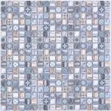 Mosaikfliese Glasmosaik Kombi Retro wood graublau dark dunkel Badezimmer Küche MOS78-W49
