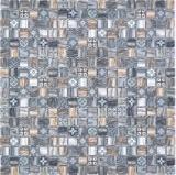 Mosaikfliese Glasmosaik Kombi Retro wood braun dunkel Wand Bad Küche MOS78-W99