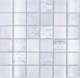 Mosaikfliese Glasmosaik Kombi Forest weiß Küchenrückwand Fliesenspiegel MOS78-W18