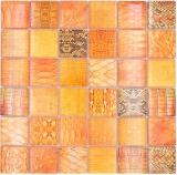 Mosaikfliese Glasmosaik Kombi Forest orange Küche Badezimmer Wand MOS78-W48