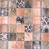 Mosaikfliese Glasmosaik Kombi Forest braun Badezimmer Küchenrückwand MOS78-W68