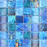 Mosaikfliese Glasmosaik Kombi Forest blau türkis Fliesenspiegel Küche MOS78-W78