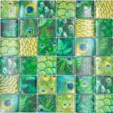 Mosaikfliese Glasmosaik Kombi Forest grün Küchenrückwand Bad MOS78-W88
