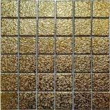 Mosaikfliese Keramik Mosaik Medio uni gold gehämmert Badezimmer Küche Wand MOS16-0707_f