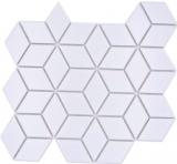 Mosaikfliese Keramik Mosaik Kombi 3D Würfel uni weiß matt Fliesenspiegel Küche MOS13-POV4_f