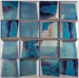 Mosaikfliese Glasmosaik Kombi 3D-Optik blau Wand Küche Fliesenspiegel MOS88-XB10