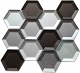 Mosaikfliese Glasmosaik Kombihexagonal 3D-Optik mix Wand Küche Badezimmer MOS88-XB159_f