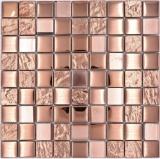 Mosaikfliese Glasmosaik Kombi EP bronze Küche Wand Bad MOS88-XCBR1_f