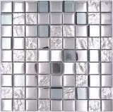 Mosaikfliese Glasmosaik Kombi EP silber metall Küche Fliesenspiegel MOS88-XCB5_f
