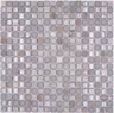 Mosaikfliese Glas Naturstein Mosaik Stein mix grau matt Fliesenspiegel MOS92-590_f