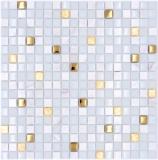 Mosaikfliese Glas Naturstein Mosaik Stein EP mix weiß gold Fliesenspiegel MOS92-640_f