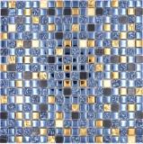Mosaikfliese Glas Naturstein Mosaik Stein EP mix schwarz gold Badezimmer Küche MOS92-650_f